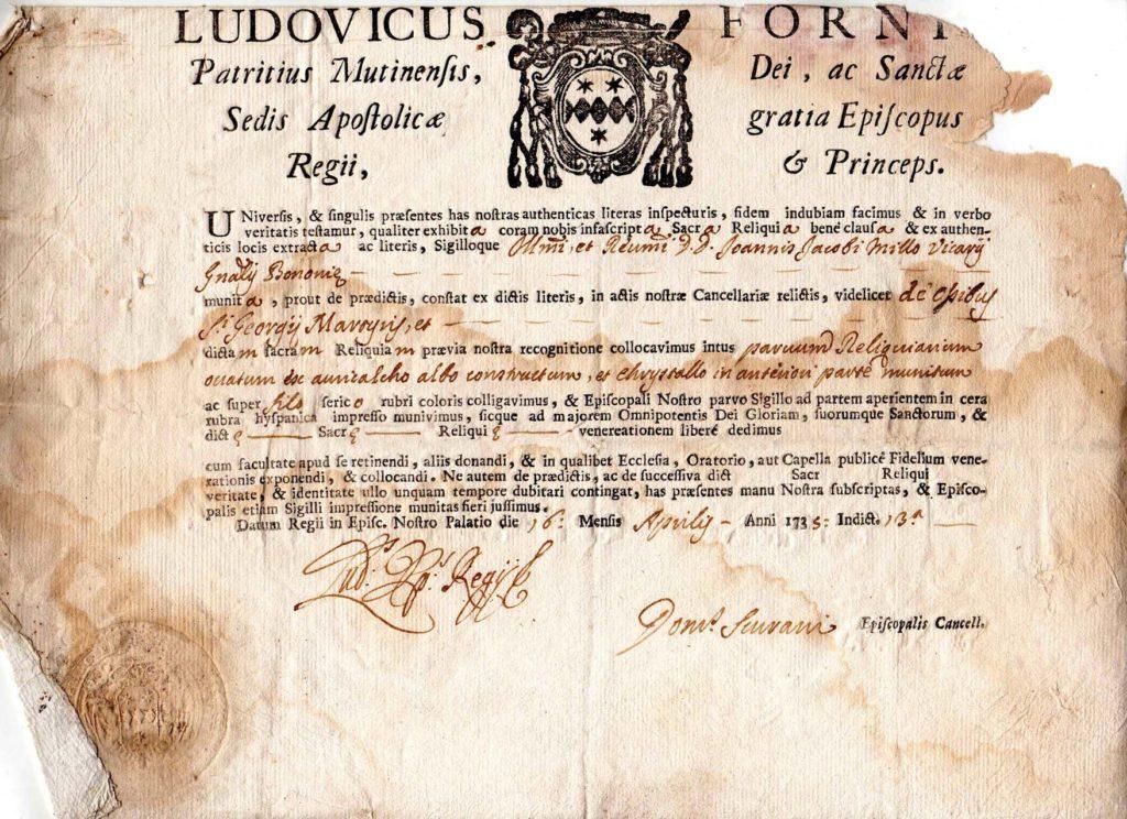 certificato di autentica reliquia di San Giorgio
